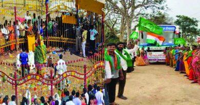 Amaravati farmers going to medaram