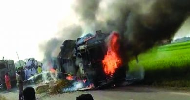 Fire catches load lorry