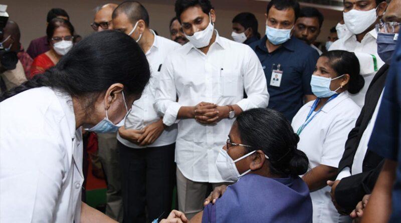 AP CM Jagan launches vaccination in Vijayawada