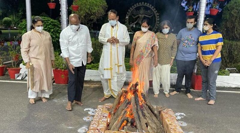 Venkaiah Naidu along with his family members perform special pujas on the occasion of Bhogi